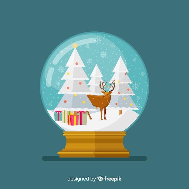 Плоский новогодний снежный шар Бесплатные векторы