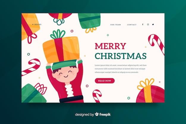 Плоская рождественская посадочная страница с эльфом Бесплатные векторы
