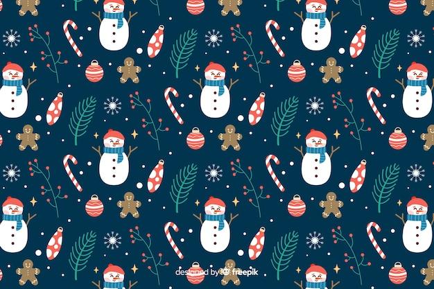 スノーマンとフラットクリスマス背景 無料ベクター