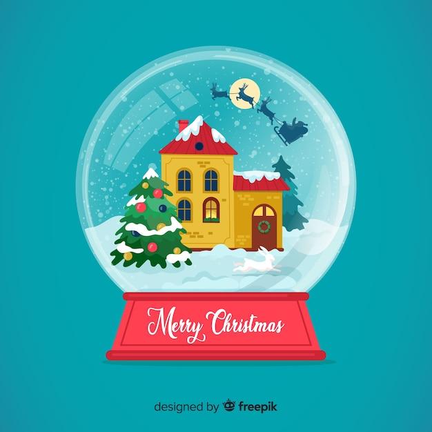 フラットなデザインのクリスマス雪玉グローブ壁紙 無料ベクター