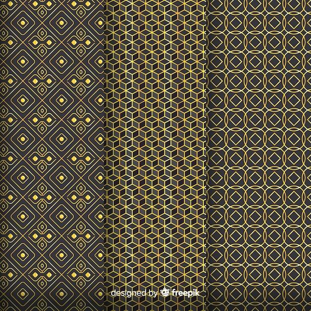 幾何学的な黄金の豪華なパターンを組み立てる 無料ベクター