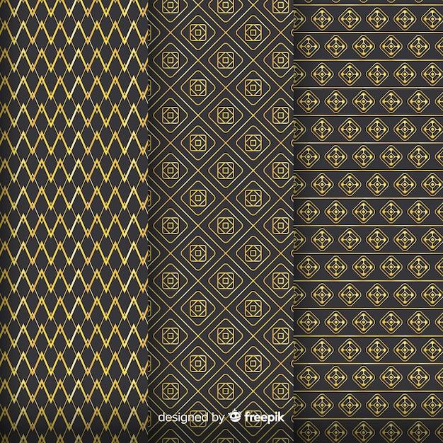 幾何学的な黄金の高級パターンコレクション 無料ベクター