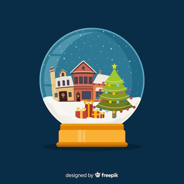 Плоский дизайн рождество снежный шар Бесплатные векторы