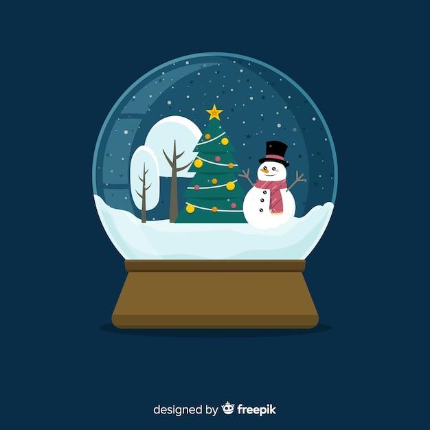 フラットなデザインのクリスマス雪玉グローブ背景 無料ベクター