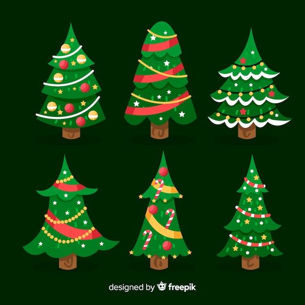 フラットクリスマスツリーコレクション 無料ベクター