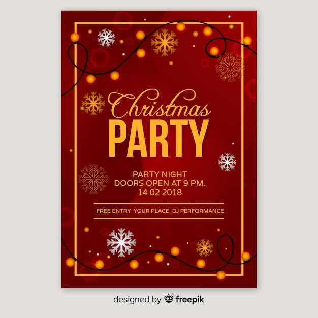 フラットクリスマスパーティーポスターテンプレート 無料ベクター