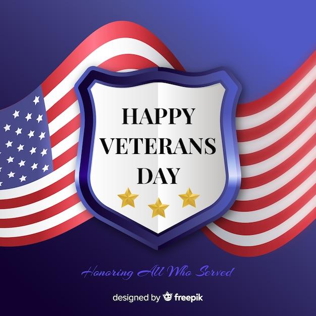現実的な旗の背景を持つ退役軍人の日 無料ベクター