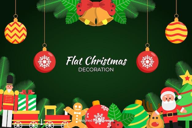 Плоское новогоднее украшение с плоским дизайном Бесплатные векторы