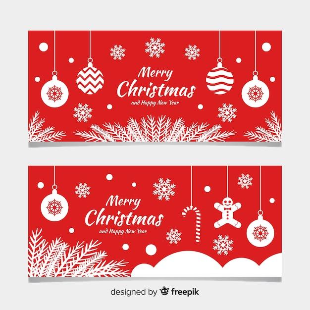 フラットなデザインのフラットクリスマスバナー 無料ベクター