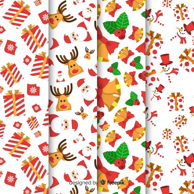 Рождественская коллекция шаблонов с плоским дизайном Бесплатные векторы
