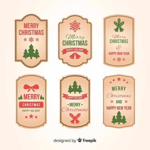 ビンテージクリスマスラベルコレクション 無料ベクター