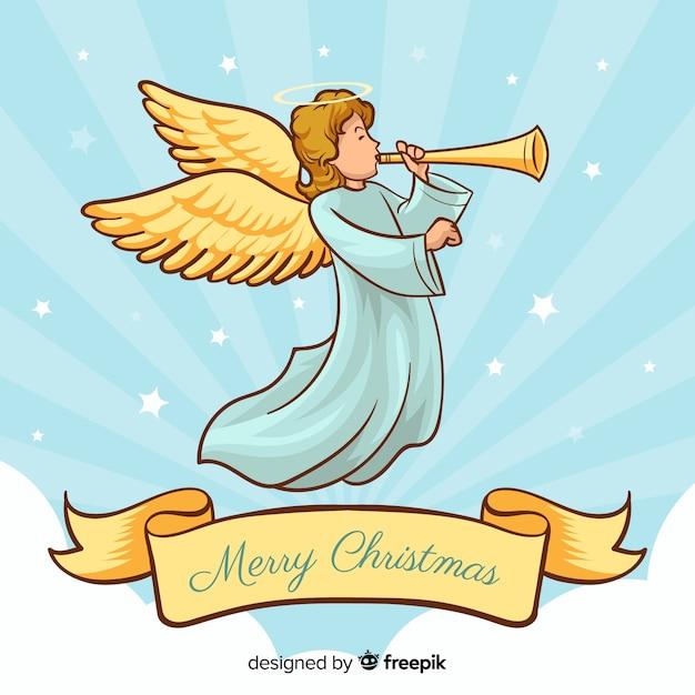 かわいい手描きのクリスマスの天使 無料ベクター