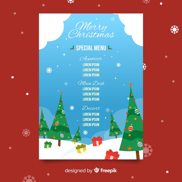 Плоский рождественский шаблон меню Бесплатные векторы