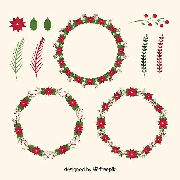 クリスマスの花&フラットなデザインで花輪のコレクション 無料ベクター