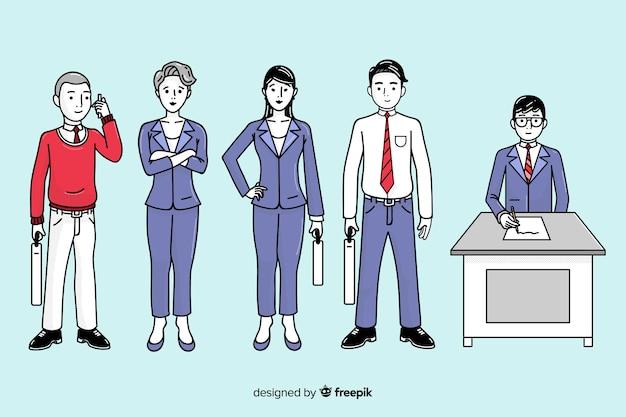 韓国の描画スタイルのオフィスでビジネス人々 無料ベクター