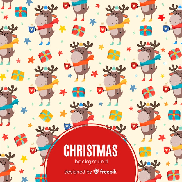 Рождественский фон в плоском дизайне Бесплатные векторы