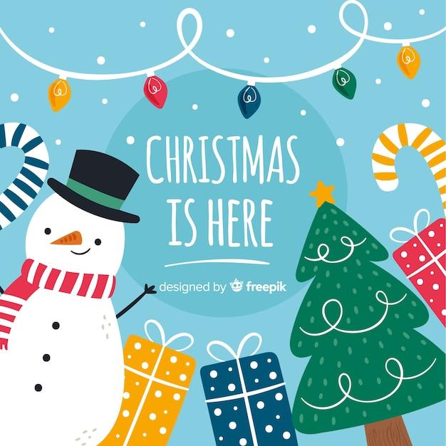 Рождественский фон в рисованной Бесплатные векторы