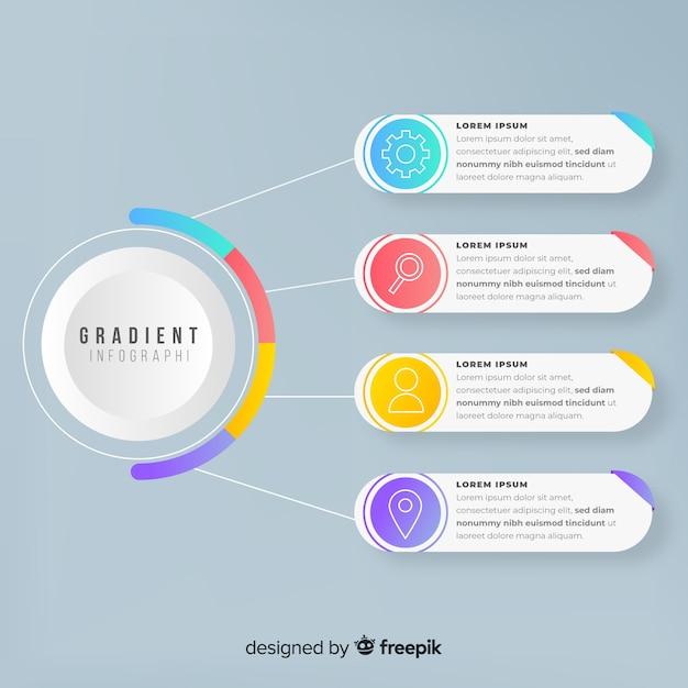 Инфографики шаблон в стиле градиента Бесплатные векторы