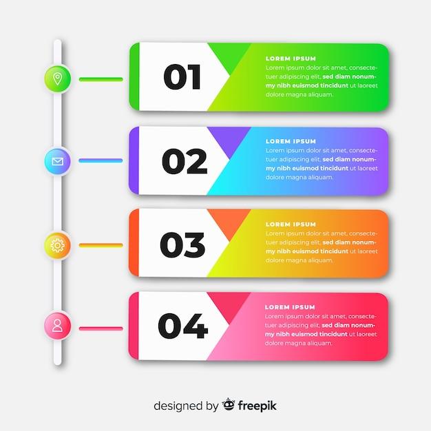 Градиент инфографики шаблон с шагами Бесплатные векторы