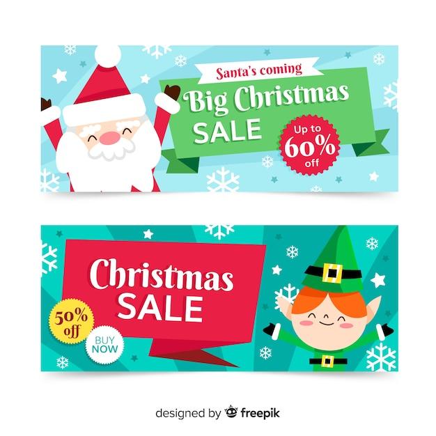 Плоский дизайн большие продажи рождественские баннеры Бесплатные векторы