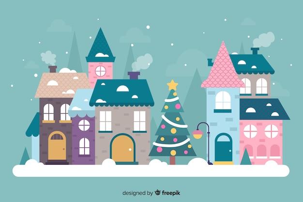 Ручной обращается красивый рождественский городок Бесплатные векторы