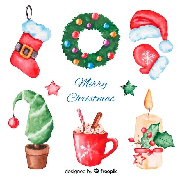 水彩クリスマス要素コレクション 無料ベクター