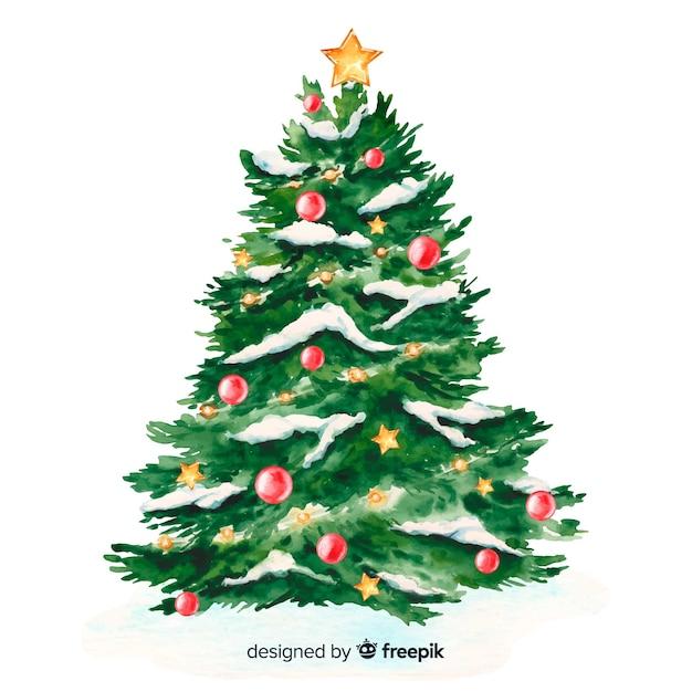 水彩のクリスマスツリーと雪 無料ベクター