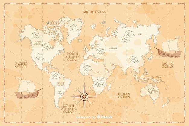 セピア色の背景のヴィンテージの世界地図 無料ベクター