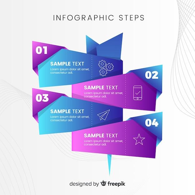 Бизнес инфографики с шагами Бесплатные векторы