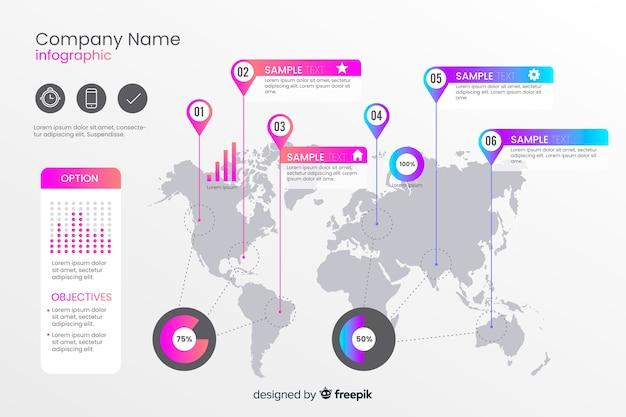世界地図インフォグラフィックテンプレート 無料ベクター