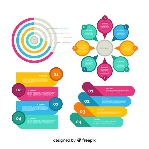 フラットなデザインのインフォグラフィック要素セット 無料ベクター