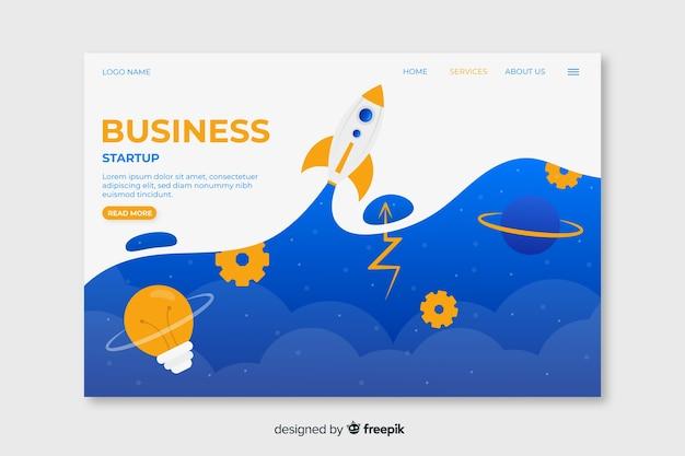 雲と宇宙ロケットの上の空とビジネススタートアップのランディングページ 無料ベクター