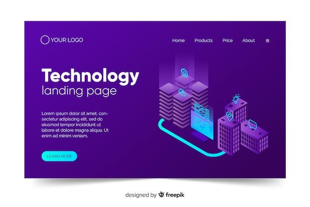 紫の色合いで技術コンセプトのランディングページ 無料ベクター