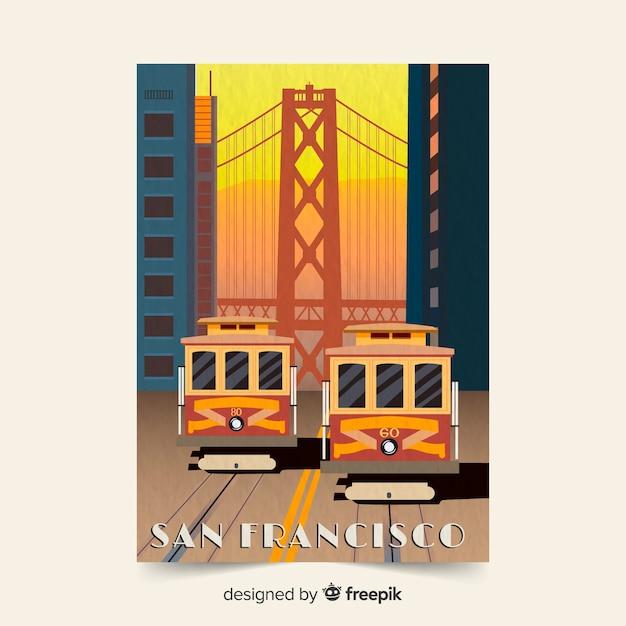 サンフランシスコのレトロなプロモーションチラシテンプレート 無料ベクター