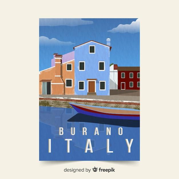 イタリアの販促ポスターテンプレート 無料ベクター
