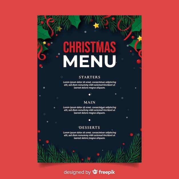 Плоский рождественский шаблон меню и сосновые листья Бесплатные векторы