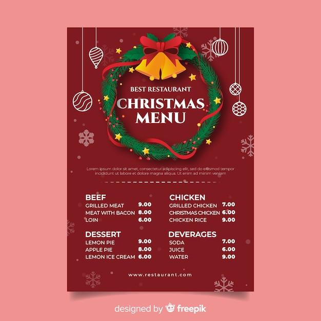 Рождественский венок с шаблоном меню колокольчиков Бесплатные векторы