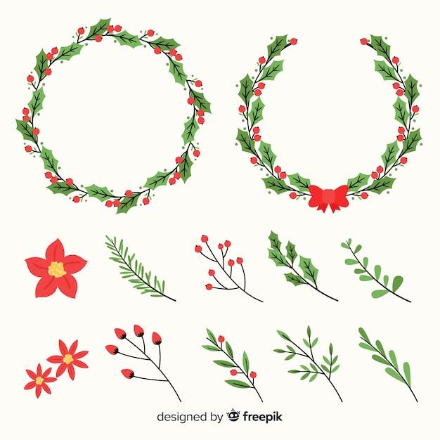 冬の花とクリスマスリースセット 無料ベクター