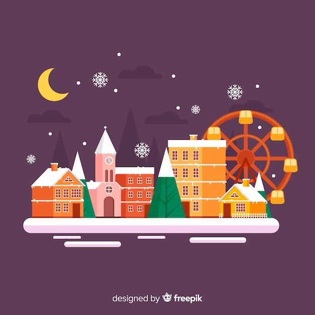 楽しい公園のあるフラットなクリスマスタウン 無料ベクター