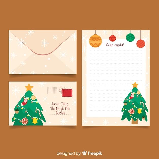 クリスマスツリーとフラットクリスマス文房具テンプレート 無料ベクター