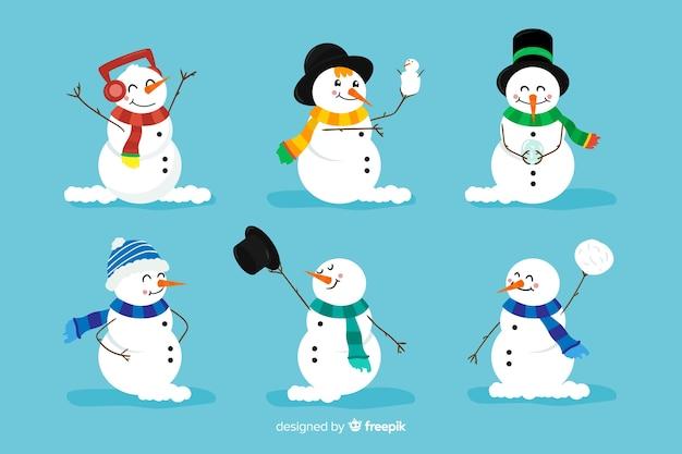 Разновидность снеговика с шарфами Бесплатные векторы