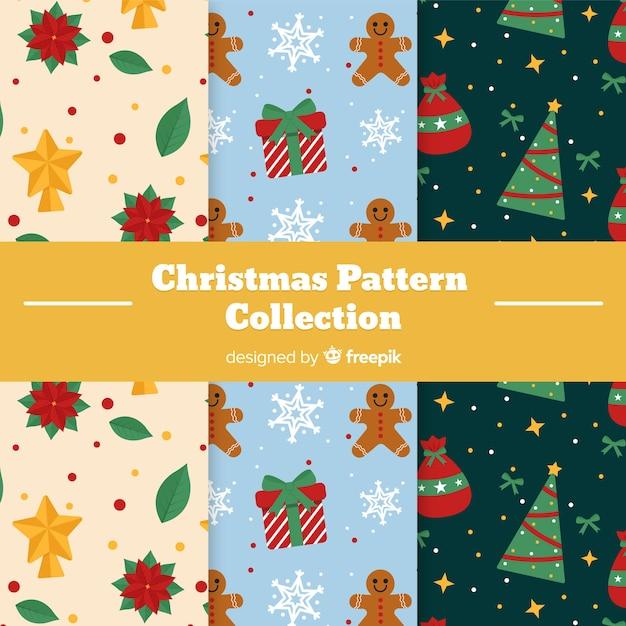 Рождественская коллекция с елками и подарками Бесплатные векторы