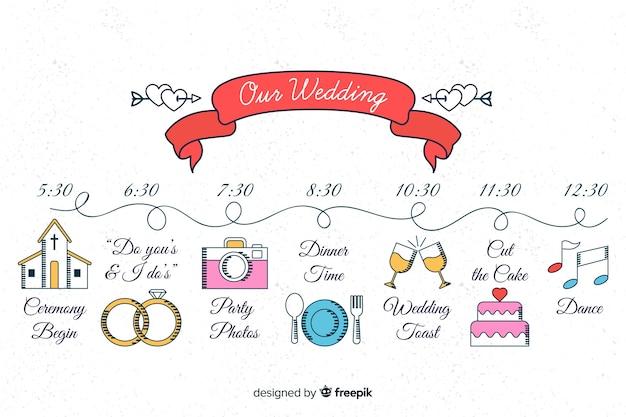 Красивая рука нарисованные свадебные сроки Бесплатные векторы