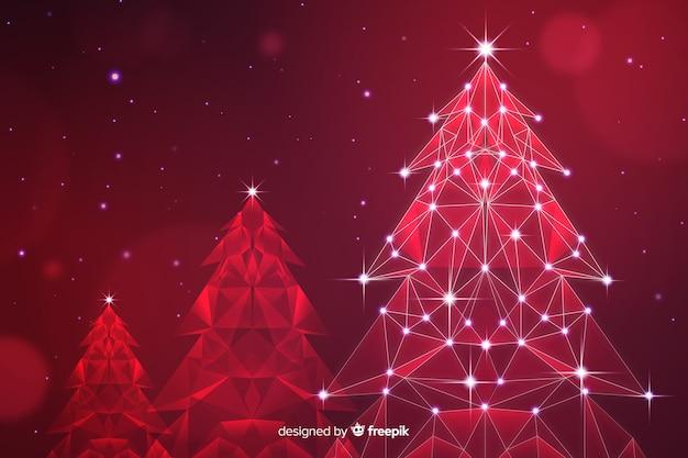 赤い色合いのライトと抽象的なクリスマスツリー 無料ベクター