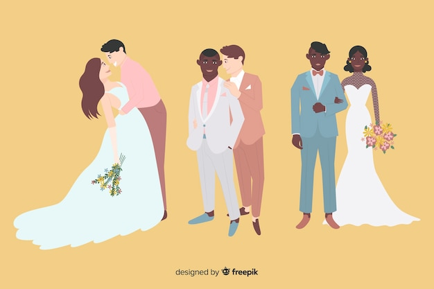 フラットなデザインの結婚式のカップルコレクション 無料ベクター