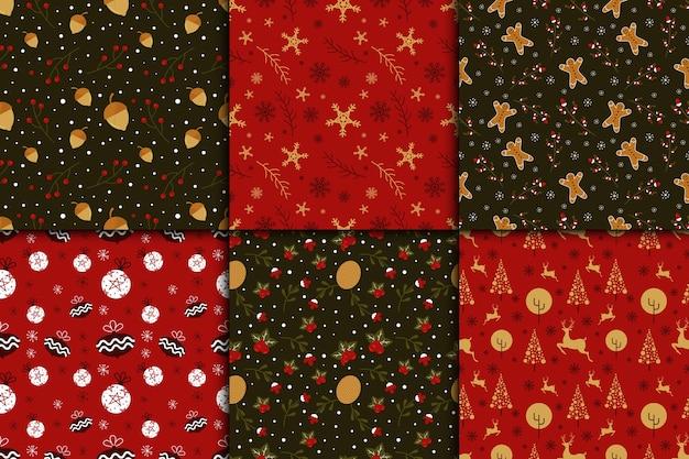 フラットなデザインのクリスマスパターンコレクション 無料ベクター