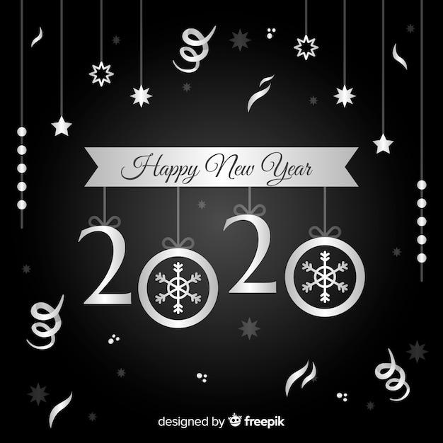 銀のデザインと新年あけましておめでとうございますコンセプト 無料ベクター