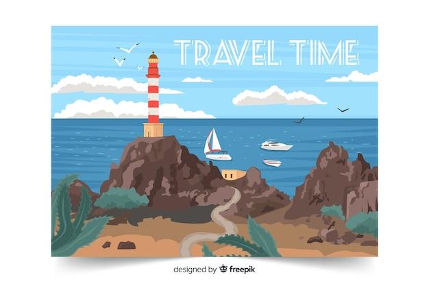 旅行時間の海の風景 無料ベクター