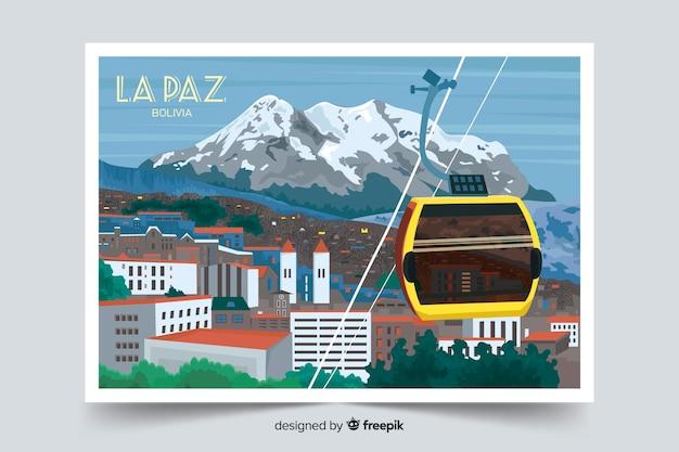 ラパスのカラフルな風景の背景 無料ベクター