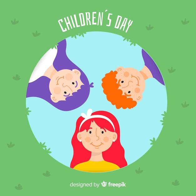 フラットなデザインの子供の日の概念 無料ベクター